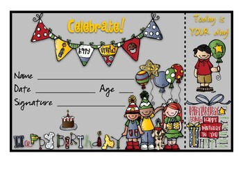 Birthday Certificates with Bookmarks Attached! 23 different background colors