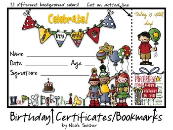 Birthday Certificates with Bookmarks Attached! 23 differen