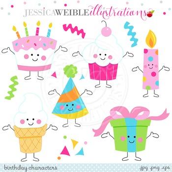 Birthday Characters Cute Digital Clipart, Birthday Cake Clip Art
