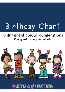 Birthday Chart - 10 different colour options
