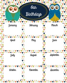 Owls Birthday Chart