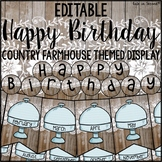 Birthday Chart Banner- Editable Bulletin Board Shabby Chic Style