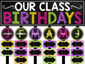 Birthday Chart Chalkboard And Editable By Caras Creative Playground