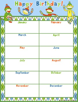 Birthday Chart – Coordinates with Sock Monkey Classroom Theme