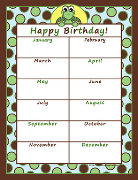 Birthday Chart – Coordinates with Turtle Time Classroom Theme