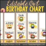 Birthday Chart Editable Large Pictograph Owl Theme