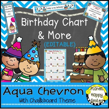 Birthday Chart & More in an Aqua and Chalkboard theme (EDITABLE)