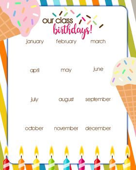 Birthday Chart Organizer