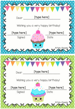 Birthday Charts & Certificates - Cupcake Theme