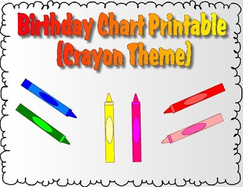 image regarding Birthday Chart Printable named Birthday Chart Printable (Crayon Topic)