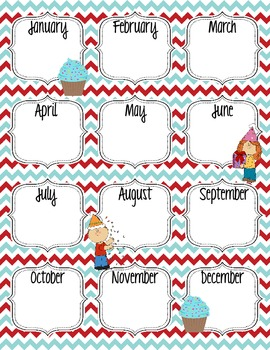 Birthday Chart Red and Aqua Turquoise