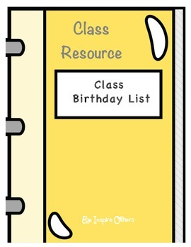 Birthday Chart Students and Class