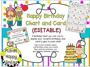 Birthday Chart and Card in Bright Polka Dots & Stripes (EDITABLE)