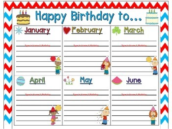 Birthday Chart and Card in Red, White & Blue Chevron (EDITABLE)