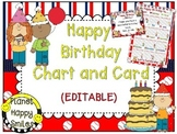 Birthday Chart and Card in a Baseball theme (EDITABLE) ~ Special Request