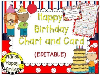 Birthday Chart and Card in a Baseball theme (EDITABLE) ~ S