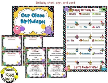 Birthday Chart & More in a Monsters theme (EDITABLE)