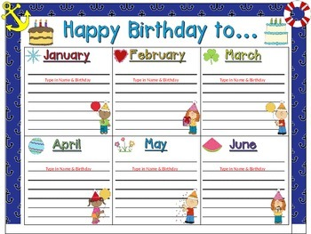 Birthday Chart and Card in a Nautical theme (EDITABLE)