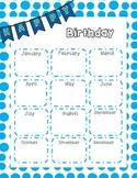 Birthday Chart - blue