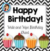 Birthday Chart {chevron and cupcakes}