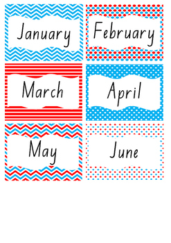 Birthday Chart in Red and Blue