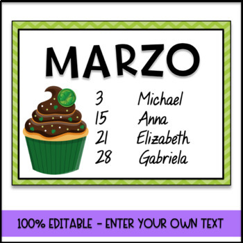 Birthday Chart in Spanish