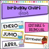 Birthday Chart in Spanish - Calendario de Cumpleaños