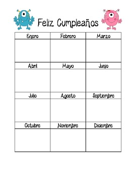 Birthday Chart in Spanish pdf