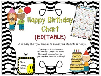 Birthday Chart in a Chevron B/W Print (EDITABLE)