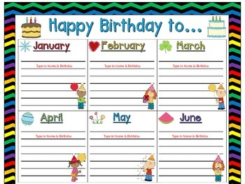 Birthday Chart In A Chevron Rainbow Print With Black Background EDITABLE