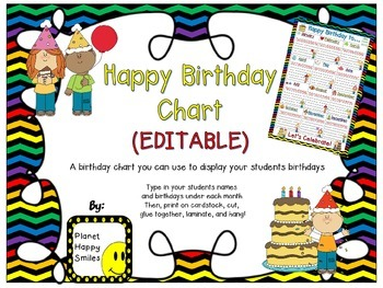 Birthday Chart in a Chevron Rainbow Print with black backg