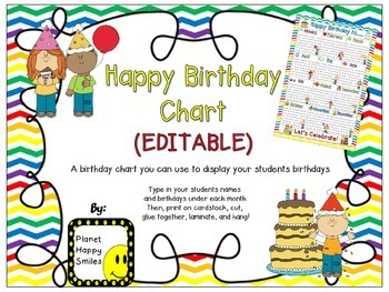Birthday Chart In A Chevron Rainbow Print With White Background