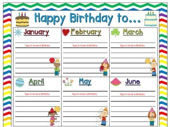 Birthday Chart in a Chevron Rainbow Print with white background (EDITABLE)