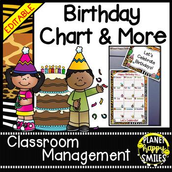 Birthday Chart in a Jungle/Safari Theme (EDITABLE)