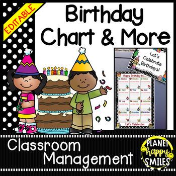 Birthday Chart in a Polka Dot B/W Print (EDITABLE)