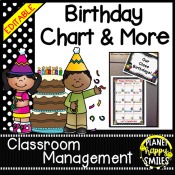 Birthday Chart in a Polka Dot B/W Print (EDITABLE)