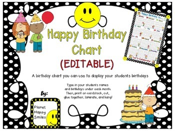 Birthday Chart in a Polka Dot B/W Print with Happy Faces (EDITABLE)