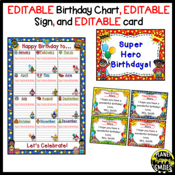 Birthday Chart & More in a Super Hero Theme (EDITABLE)