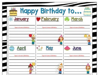 Birthday Chart in a Zebra Print (EDITABLE)