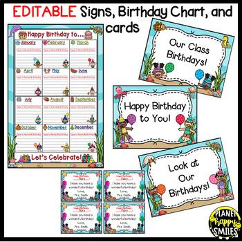 """Birthday Chart in an """"Under the Sea"""" Ocean Theme (EDITABLE)"""