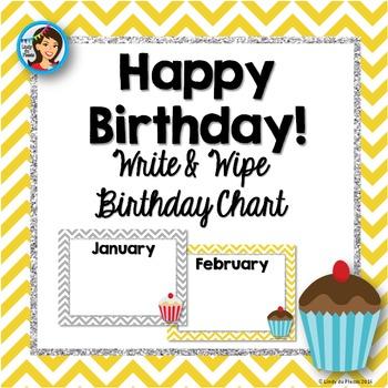 Birthday Chart Yellow and Grey Chevron with Cupcakes