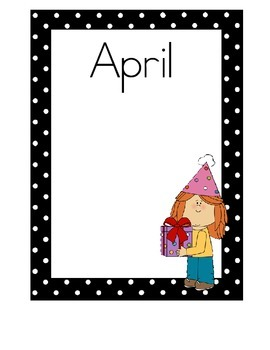Birthday Charts, Black and White Polka Dots