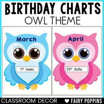 Birthday Charts (Owl Theme) - Plus Certificates & Bookmarks!