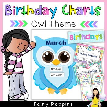 Birthday Charts (Owl Theme) - Plus Certificates & Bookmarks!
