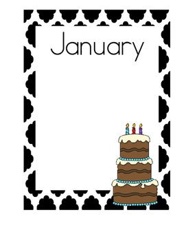 Birthday Charts, Quatrefoil Theme