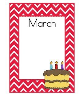 Birthday Charts, Red Chevron