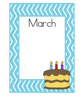 Birthday Charts, Teal Chevron