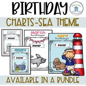 Birthday Charts with Editable Name Tags - Sea Theme