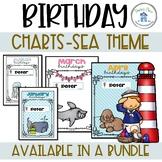 Birthday Charts with Editable Name Tags Sea Theme
