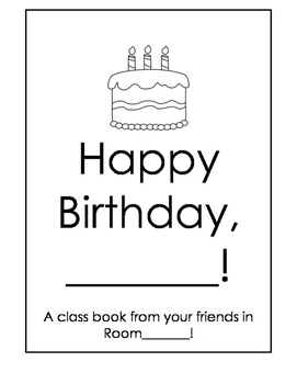 Birthday Class Book! A gift to the birthday boy/girl from the class!